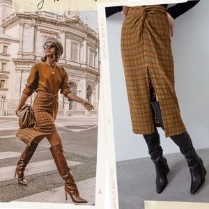 NWT Zara Plaid Pencil Skirt With Knot